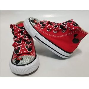 NWT Minnie Mouse Bling Toddler High Top Converse